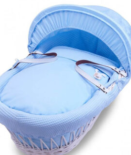 Blue Gift White Wicker Moses Basket