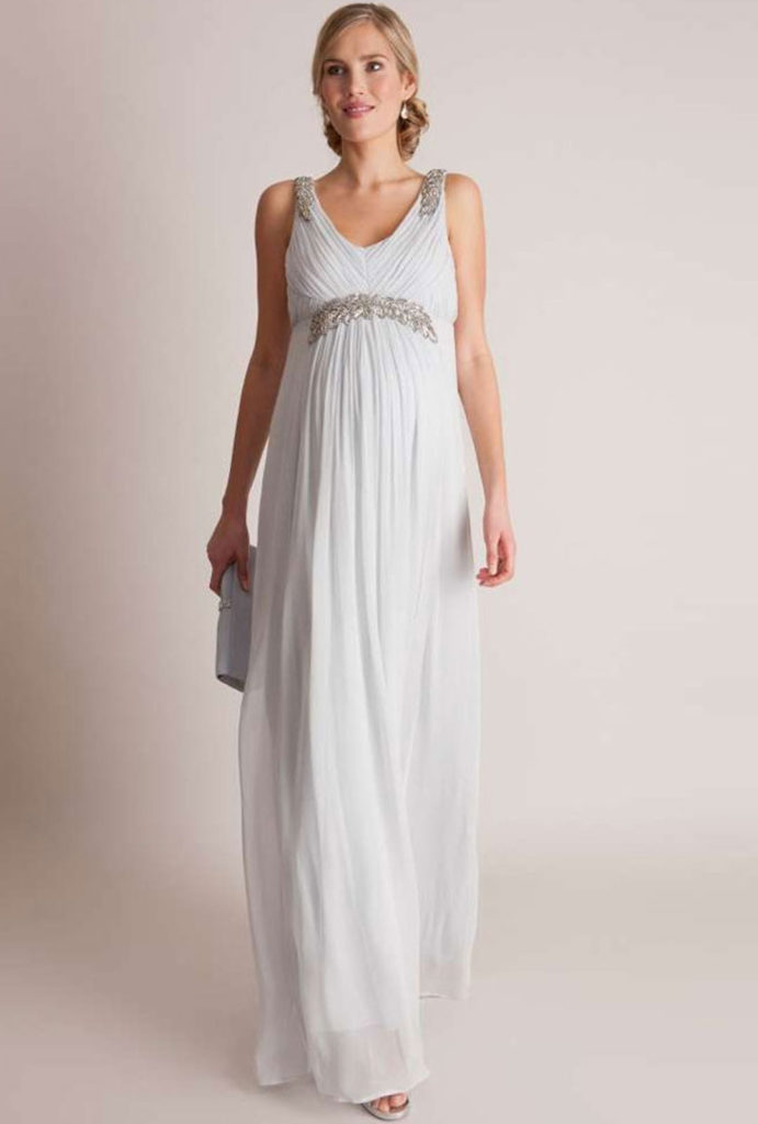 Seraphine mist grey grecian Maternity Gownw