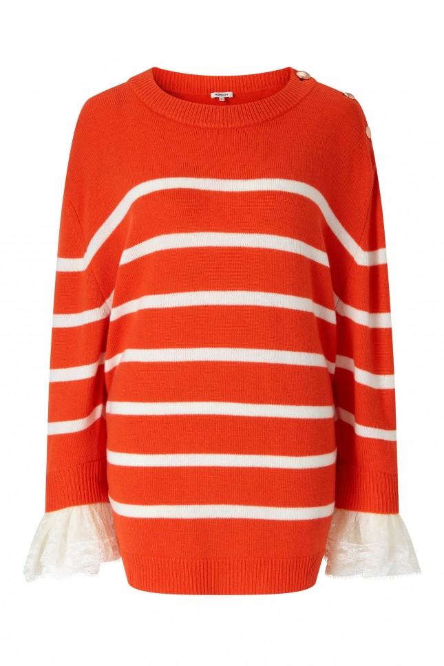 Manoush lace cuff Striped Merino Sweater £320
