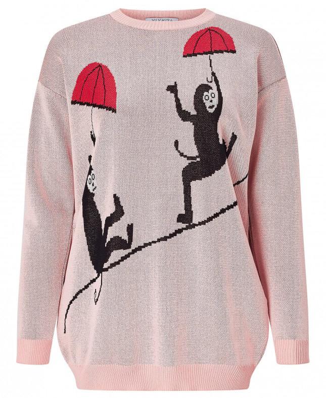 Bottrop Monkey Intarsia Knit Sweater